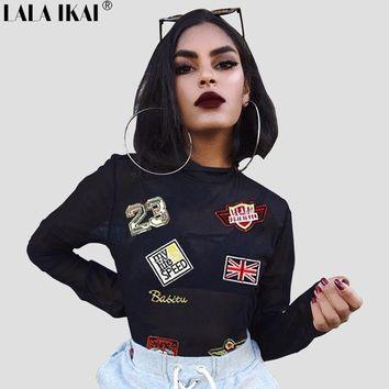 Chic Women Sexy Appliques Patchwork Mesh Transparent Turtleneck T Shirt Street Femme Black Long Sleeve Lady Crop Top SWB1187-45