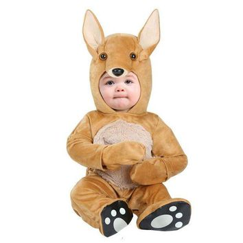 PEAPON Delightful Infant Baby Kangaroo Costume Soft Cuddle Plush Hooded Onesuit Coolest Little Animal Dress-up Newborn To 12/18M