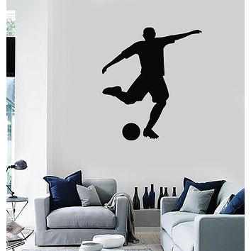 Large Vinyl Decal Wall Sticker Sport Silhouette Soccer Player and Ball (n1089)