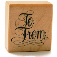 Gift Tag Stamp - Christmas Stamp - To and From Stamp - Craft Rubber Stamps - Gift Wrapping - Packaging Supplies - Holiday Stamp