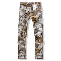 Autumn Men Pants Slim Club Print Casual Skinny Pants [6541848899]