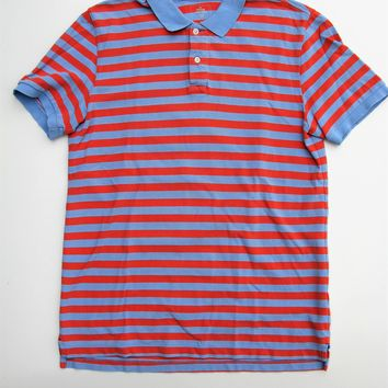 Gap Peach & Blue Striped the Modern Pique Polo Shirt M