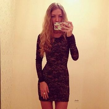 Sexy Bodycon Women Dress Lace Mini Winter Dress Black Dress Long Sleeves Club Club Dresses Vestidos Roupas Femininas 2015