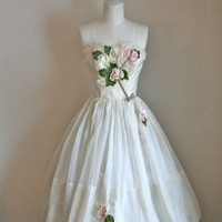vintage 50s wedding dress - VELVET ROSE ivory prom dress / XXS