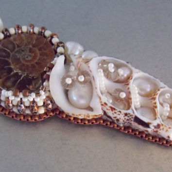 Free Shipping , Bead Embroidery, Necklace, Statement jewelry, Seed bead necklace,Shell,Pearl, Ammonite