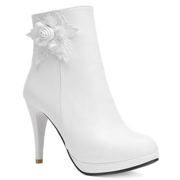 Candy Color Ankle Boots With Floral Applique Design