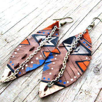 Leather Feather Earrings - Upcycled, recycled, repurposed - Native American Inspired Earrings - Boho jewelry - Tribal Jewelry