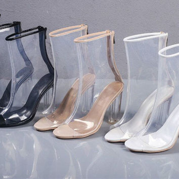 2017 New Chaussure Femme Clear Heel Transparent Boots Plastic Womens Ankle Booties Peep Toe Perspex Lucite 11cm High Heels Shoes
