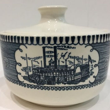 Rare Royal China Currier & Ives Sugar Bowl White Lid No Handle Size: 2 1/2 in H