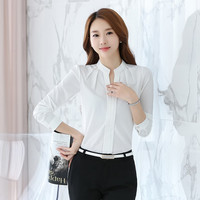 2016 Women casual Chiffon long sleeve Blouse Elegant Solid V neck shirts femme hipster OL Office style Shirt funny brand Blouses