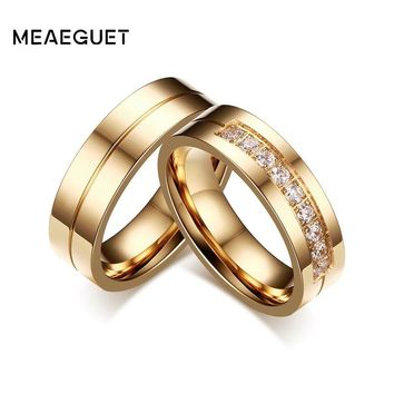 Meaeguet 1 Pair Engagement Wedding Rings For Couple Band Stainless Steel Anniversary Promise Jewelry Alliance Bijoux