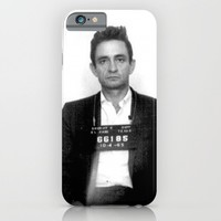 Johnny Cash Mugshot iPhone & iPod Case by Neon Monsters
