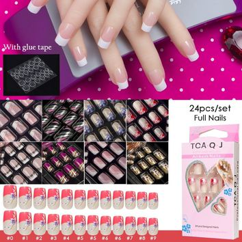 JQ 24pcs Full Cover Fake Nail Art Design With Nail Adhesive Glue Tab 10 Sizes Acrylic Press On Nail Tips False Nail Faux Ongles