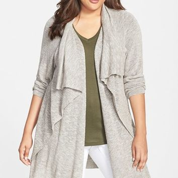 Plus Size Women's NIC+ZOE 'Great Lengths' Drape Front Cardigan,