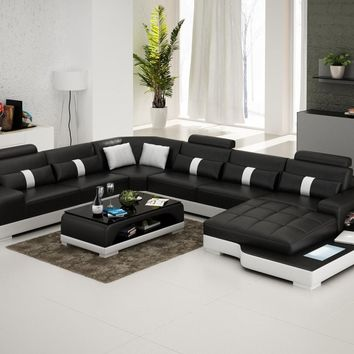 Large Unique Leather Sectional - Opulentitems.com
