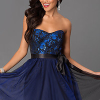 Short Strapless Blue Homecoming Dress 6980506 by Masquerade