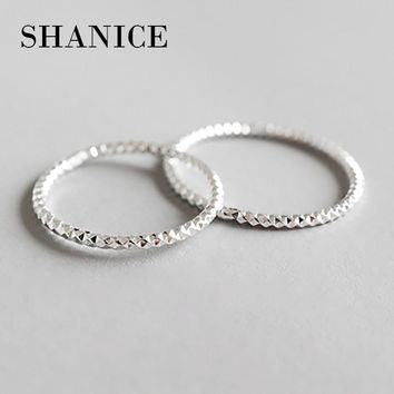 SHANICE 100% Real Pure 925 Sterling Silver Ring Fashion Simple Glint Gleam Fine Ring Thin Little finger Ring For Women Jewelry