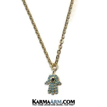 Necklace | HAPPINESS | Hamsa Hand | Evil Eye | Blue | Delicate Chain Necklace