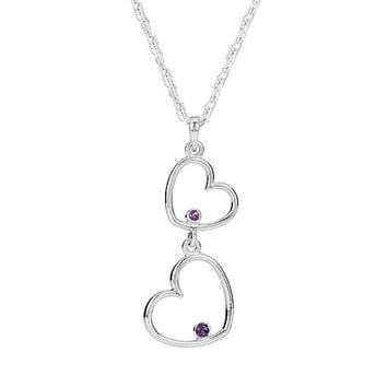 Double Heart Amethyst Necklace in Sterling Silver, 18 Inch