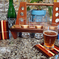 Handmade Wood Mini Brew Beer 6 Pack and Coaster Set 6 - The BYOB Six Pack - Black Walnut & Bloodwood