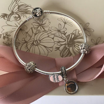 "Authentic Pandora Poetic Blooms Bracelet ""sweet Mother"" Gift Set Mothers Day"