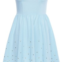 Romwe Women's Bandeau Style Golden Stars Embellished Polyester Dress-Light Blue-M