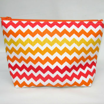 Cosmetic Bag, Make up Bag, Makeup Bag, Toiletry Bag, Zipper Pouch, Handmade Zippered Pouch, Zig Zag in Sunset