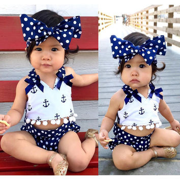 Cute Baby Girls Clothes Sets Anchors Bow Tops + Polka Dot Briefs + Head band 3pcs Sleeveless Outfits Set Baby Girl 0-24 Monthes