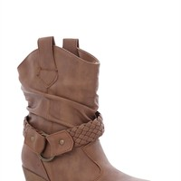 Short Cowboy Boot with Low Heel and Braided Strap