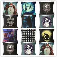 he Nightmare Before Christmas Cushion Cover Cotton Linen Throw Pillow Cover Decorative Horror movie housse