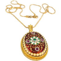 Etruscan revival pendant with chain, Enamel, Natural gemstones, Opals, set in 18K solid gold, Fully hallmarked