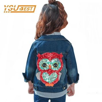 Trendy 2018 Baby Girl Denim Jacket Sequined Owl Fashion Outwear For Boys and Girls Jeans Jackets Children Clothes 2-6Y Girls Jeans Coat AT_94_13
