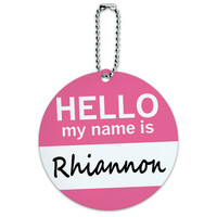 Rhiannon Hello My Name Is Round ID Card Luggage Tag