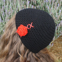 Crochet Beanie, Womens Beanie Hat / Cap in Black with Red Laces and Flower, Beanie Cap from N-Chanted Clocks & Gifts