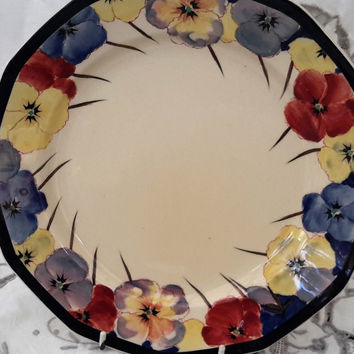 """Royal Doulton Pansies Series, Highly collectible Art Deco China Plate, Large Doulton Pansies Plate,  9.5"""" plate Reg No. 597785 Pattern D049"""