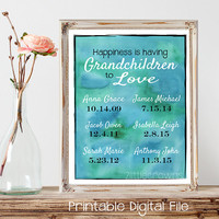 Grandmother Print Gift Happiness is having Grandchildren to Love Personalized Dates Printable Mothers Day Gift Wife Gift Mom Gift Watercolor