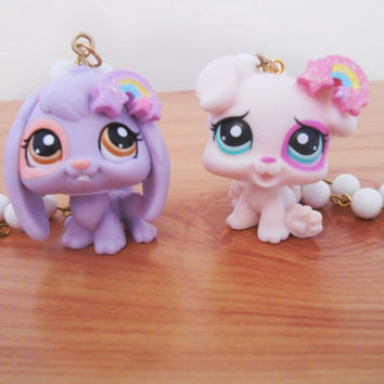 Upcycled Kawaii 'Rainbow Dreams' LPS Pendant- Littlest Pet Shop Necklace- Pastel Lilac Pink Purple- Puppy Dog Bunny Rabbit Lop Ear Easter