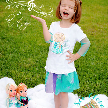 Frozen Ice Princess Applique T-Shirt - Personalized Girl Birthday Shirt - Frozen Queen Elsa Shirt