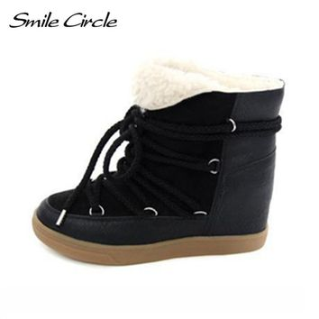 Hot Sale 2017 Winter Boots Women Shoes Hidden Wedge Heels Boots Women Elevator Shoes Lace-up Casual Shoes For Women Ankle Boots