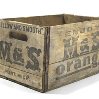 Vintage M & S Orange Wood Crate / Industrial Home Decor