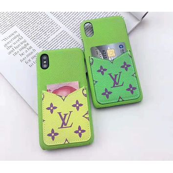 Louis vuitton fashion glitzy printed man and woman with slot iPhone case