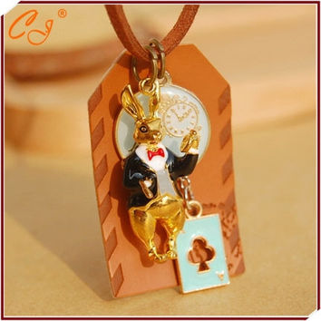 Alice in wonderland The rabbit clock long necklace