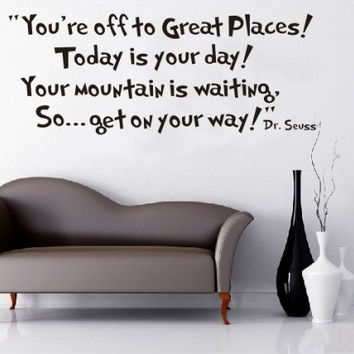 Toprate®  Quote Dr seuss You're off to great places... Wall Vinyl Sticker Decals Decor Art Bedroom Design Mural