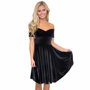 Black Velvet Off Shoulder Pleated Skater Dress