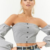Plaid Off-the-Shoulder Crop Top