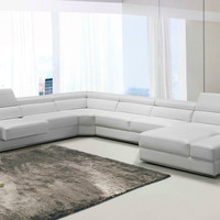 Divani Casa Modern White Italian Leather Sectional Sofa