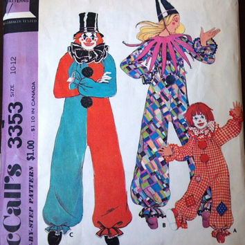 McCall's 3353 Pattern for Children's Clown Costume, Size 10-12, From 1972