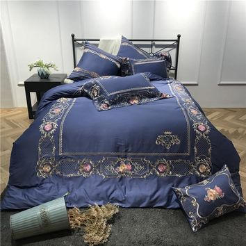 Cool blue/gules Luxury Embroidery 60S Egyptian cotton Bedding Set King Queen Size Duvet Cover Bed Linen Bed Sheet Pillowcase 4/7pcsAT_93_12
