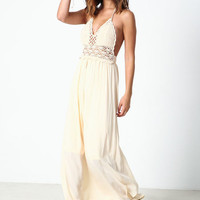 BEIGE DESERT CROCHET MAXI DRESS