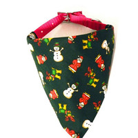 Hunter Green Santa Christmas Winter Holiday Monogrammed/Personalized Slip On Dog Puppy Over Collar Bandana Neckerchief Pet Fashion Accessory